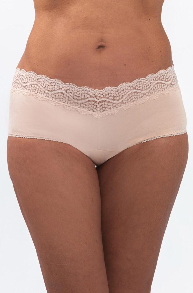 A women wearing Cream Color leak-proof panty