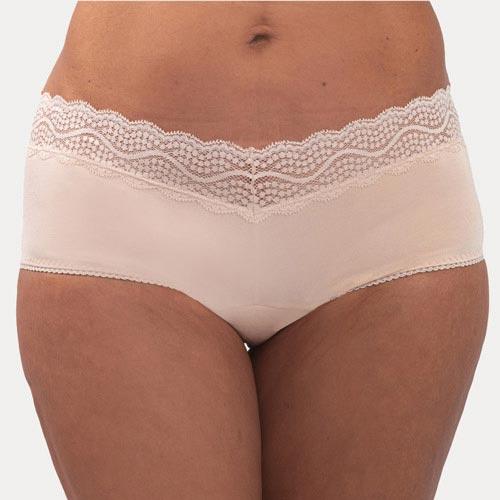 A women wearing Cream Color lace design leak-proof panty
